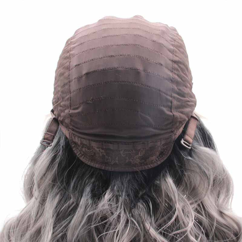 Synthetic Lace Front Wig Grey Ombre  26inch