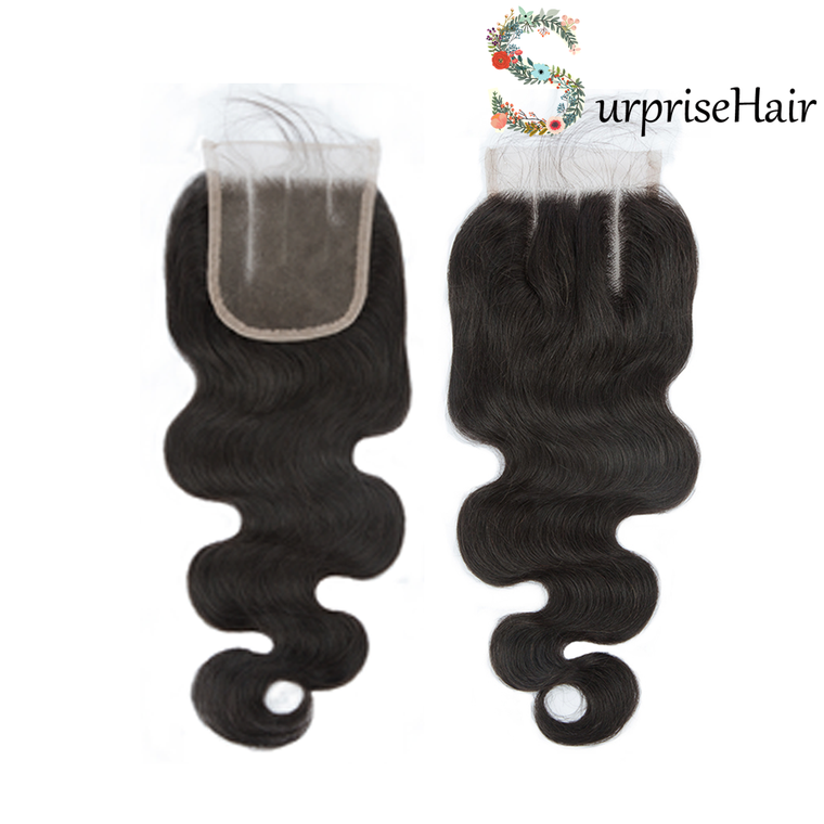 3 Part Lace Closure 4x4 Body Wave Human Hair Closure 130% density Peruvian Hair Quality