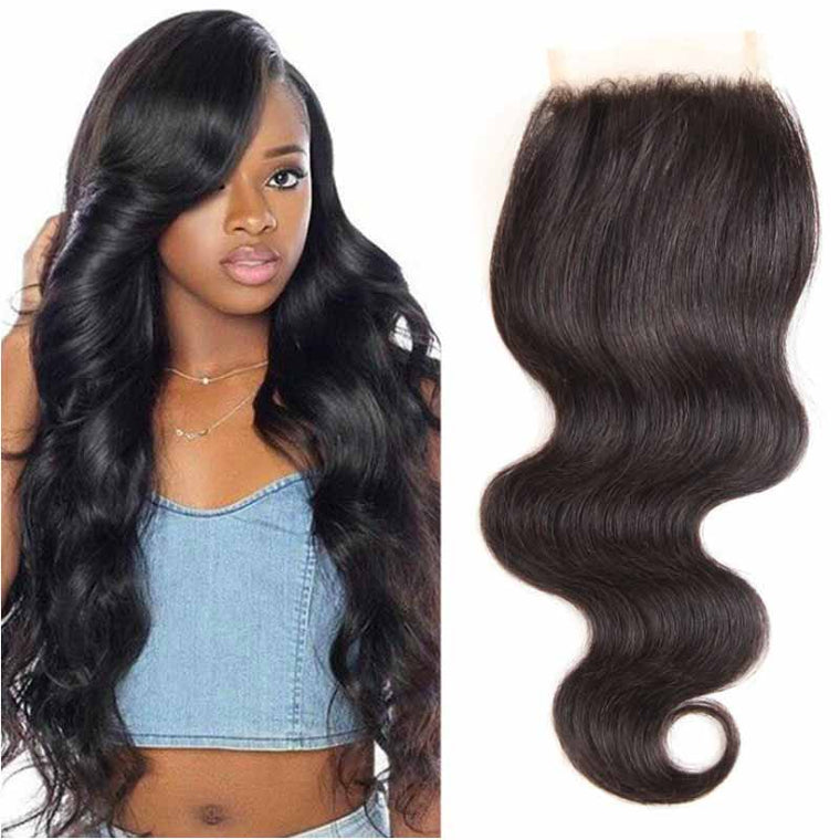 Surprisehair 9A Grade Free Part Body Wave Lace Closures Human Hair 4x4