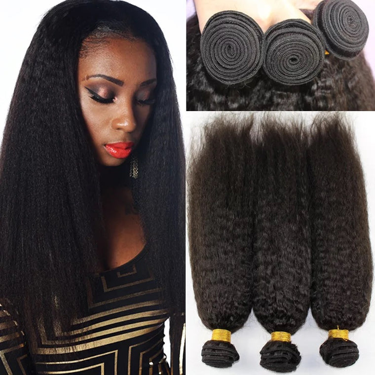 SurpriseHair 8A Brazilian Kinky Straight Hair Bundles 3 Bundles Deal Virgin Hair