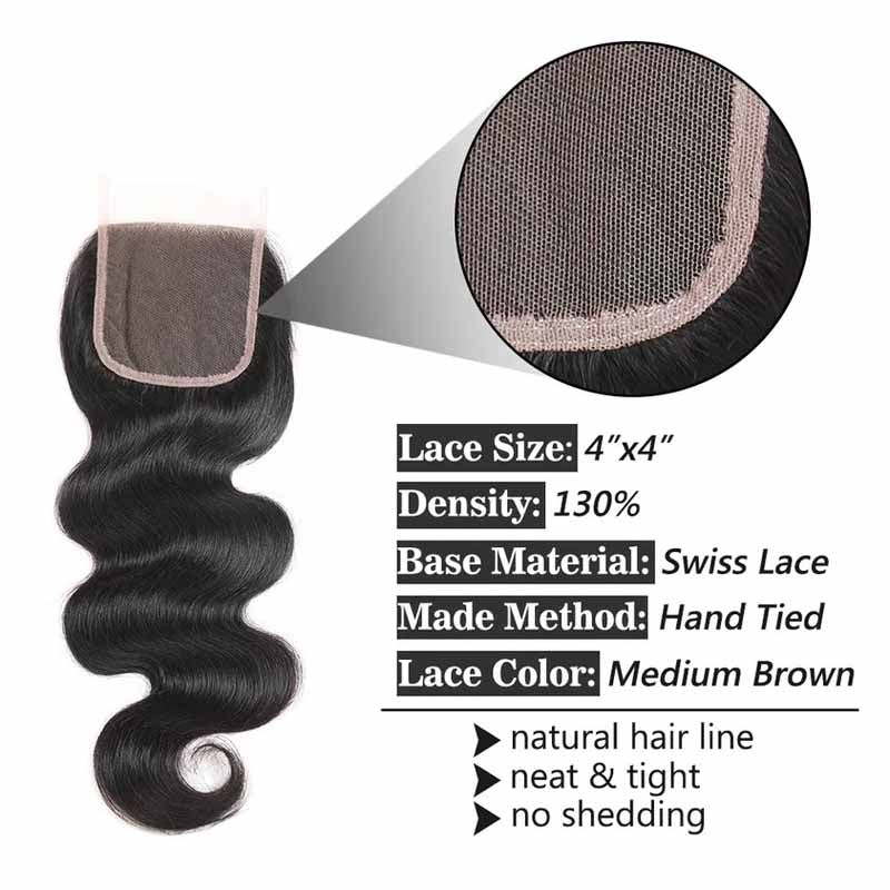 Free Part Body Wave Lace Closures