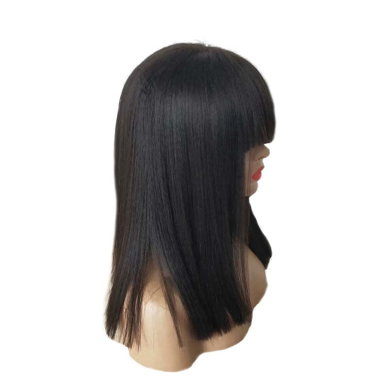human hair lace wig with bangs