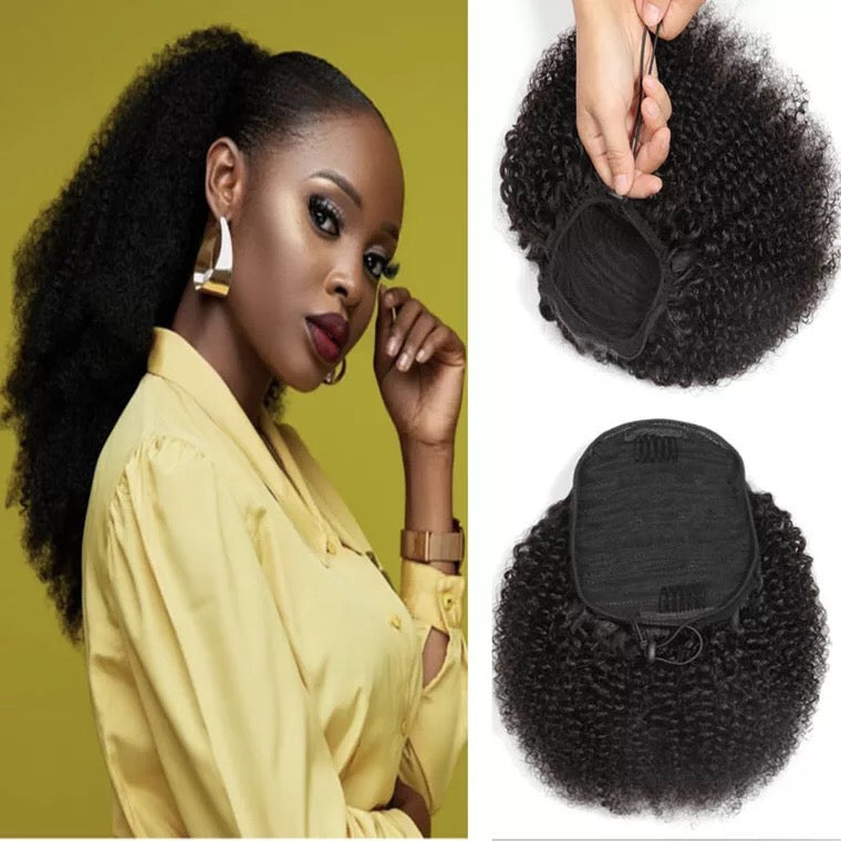 Brazilian Human Hair  Afro Kinky Curl Ponytail Clip In Surprisehair