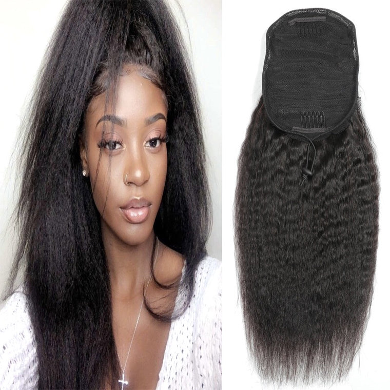 Yaki Brazilian Human Hair Kinky Straight Ponytail Puff Hair Surprisehair