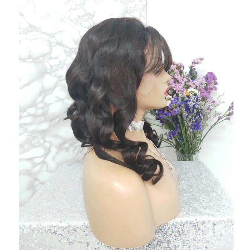 brazilian hair loose wave wig with bangs
