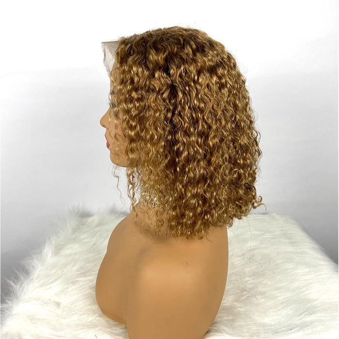 Brown 13x6 Lace frontal curly bob wigs for African American