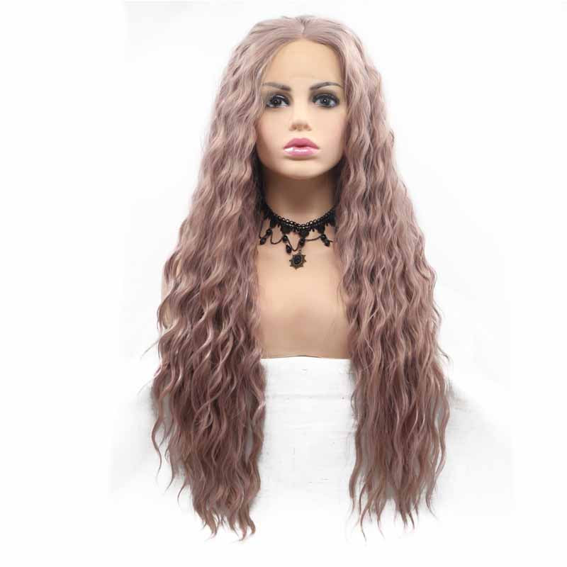 surprisehair-Surprisehair Cheap Long Synthetic Lace Front Wig Curl Brown Pink Popular Color