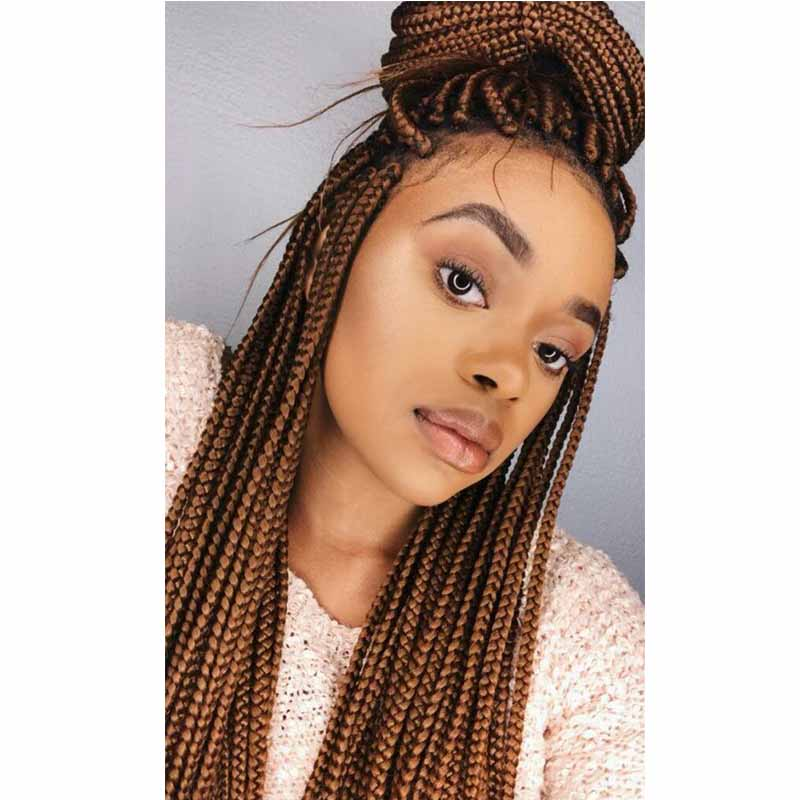 brown box braids wig lace frontal for black women