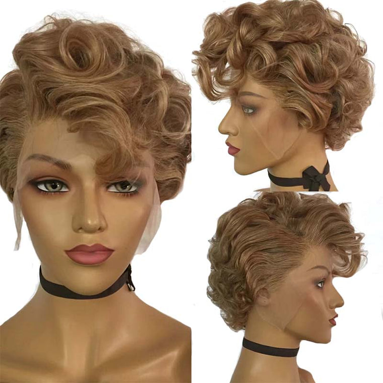 Short Brown Pixie Cut Curly Lace Wig Brazilian Human Hair Surprisehair