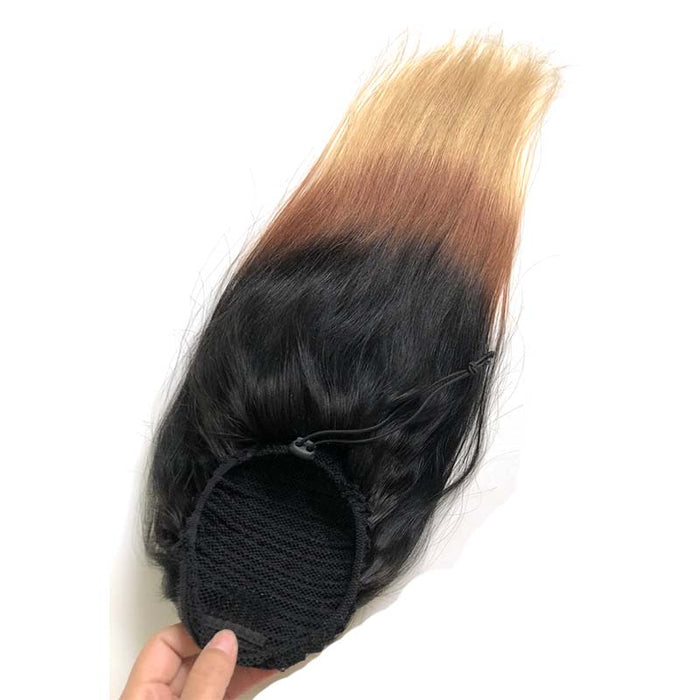 brown ombre ponytail straight human hair