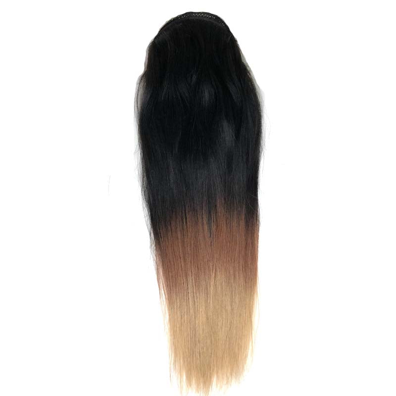 Brown Ombre Straight Human Hair Ponytail for Black Women Surprisehair