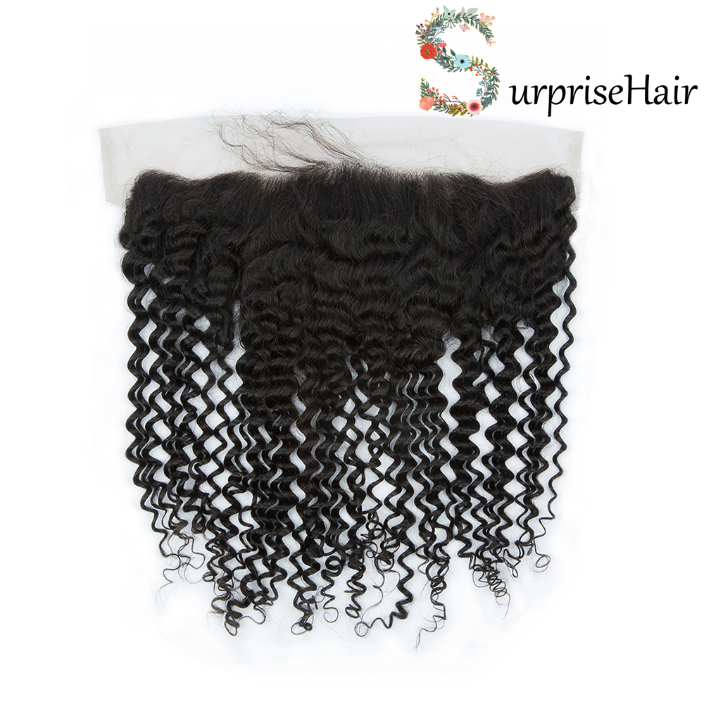 surprisehair-Curly Frontal Closure 13x4 Peruvian Hair Quality Curly Frontals With Baby Hair Online Sale