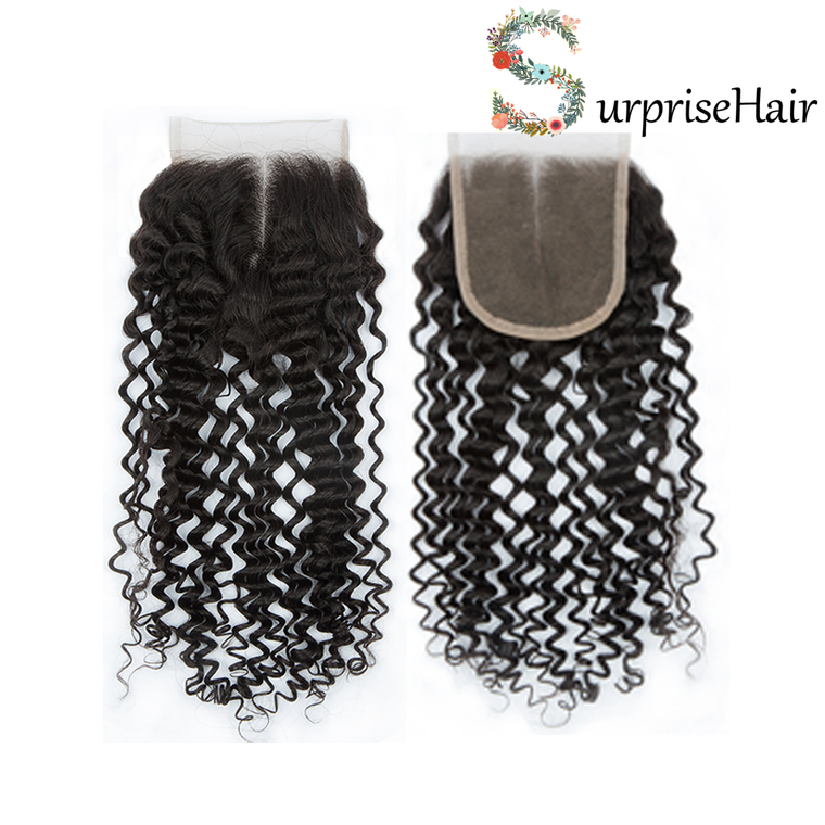 Cheap 4x4 Lace Closure Curly Weave Brazilian Curly Lace Closure Middle Part for Black Women