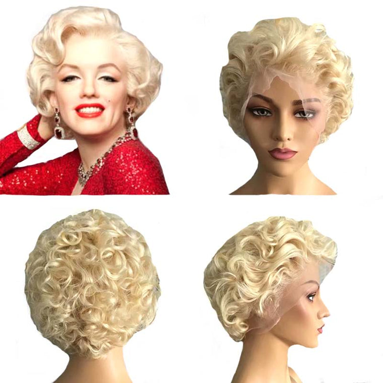 #613 Short Blonde curly Pixie Cut Wig 13x4 Lace Human Hair Surprisehair