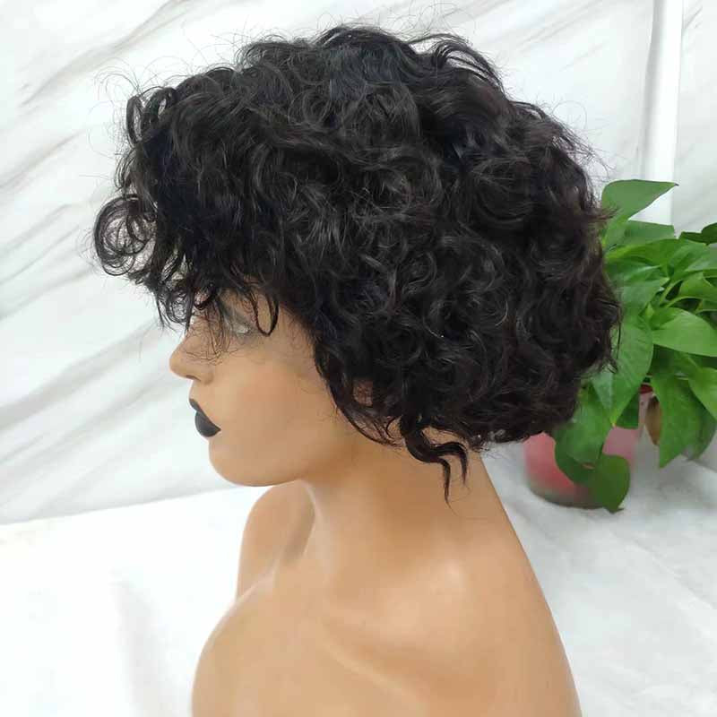 curly pixie cut lace wig for black women