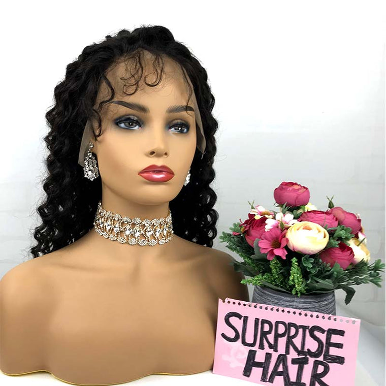 Surprisehair Natural Deep wave lace front wig  Human Hair With Baby hair