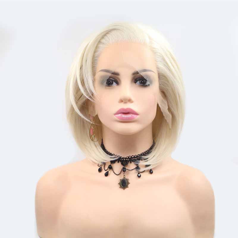 silvery white synthetic lace front wig short