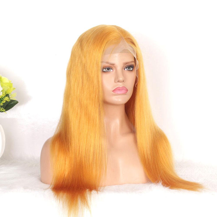 free part human hair lace wig gold color
