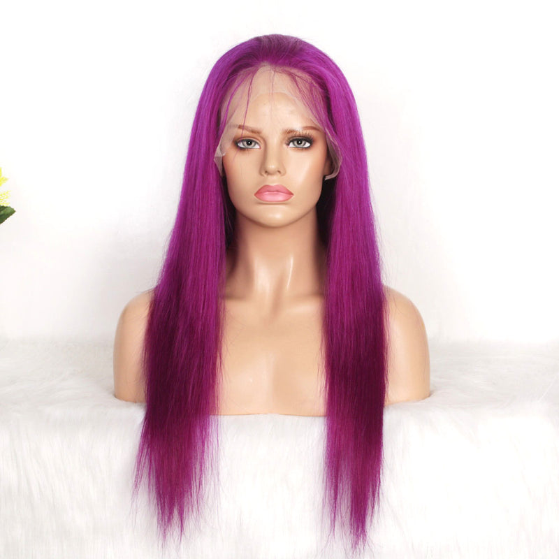 Grape purple human hair lace wig straight