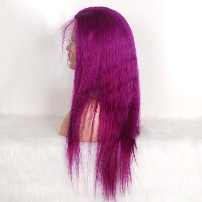 Grape purple lace frontal wig straight