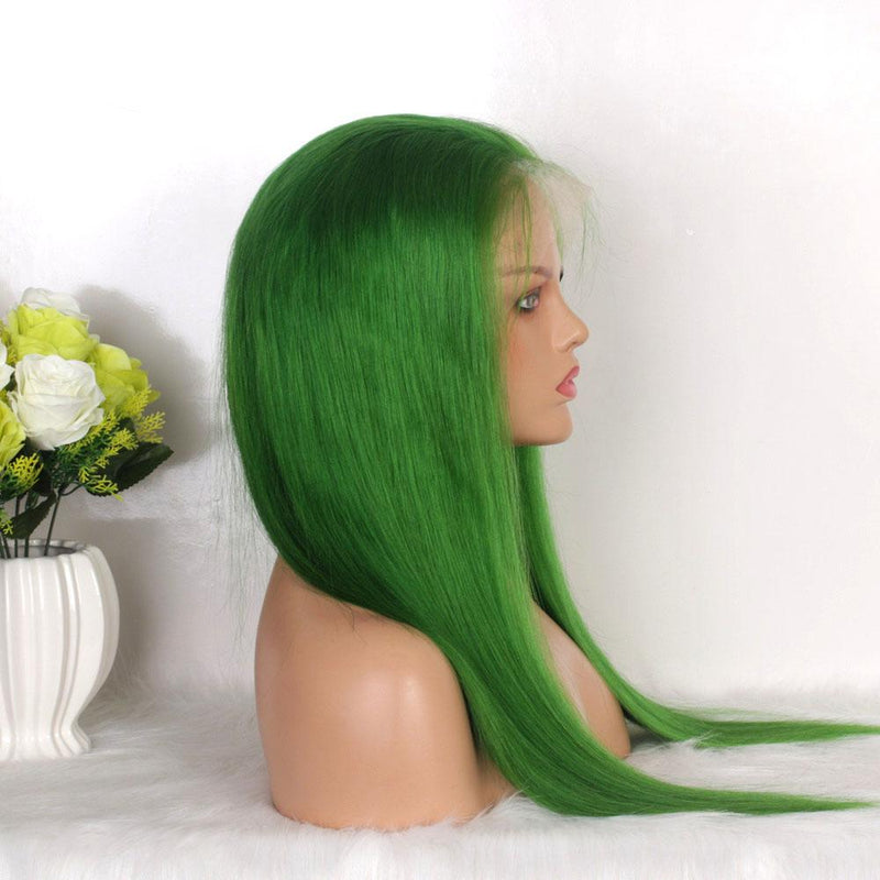 Quality green  human hair lace wig for black women