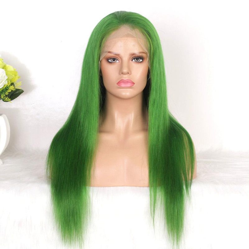 green lace front wig human hair