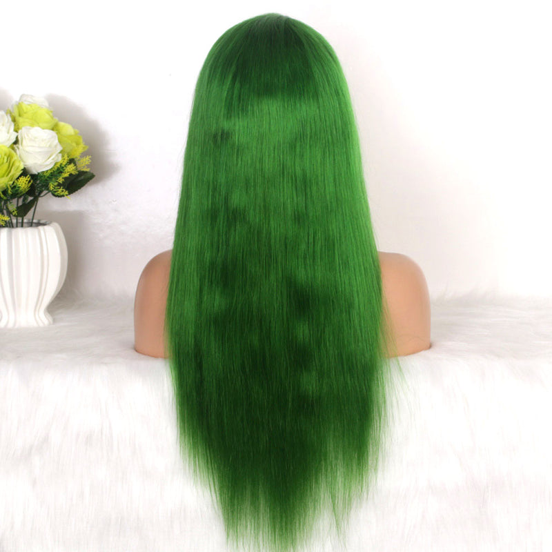 Cheap green color lace front wig human hair for African American