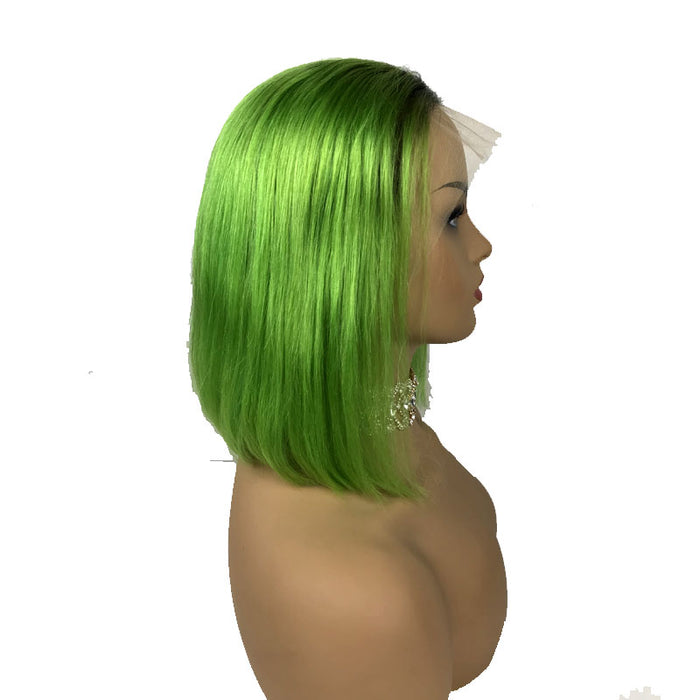 black to green ombre wig