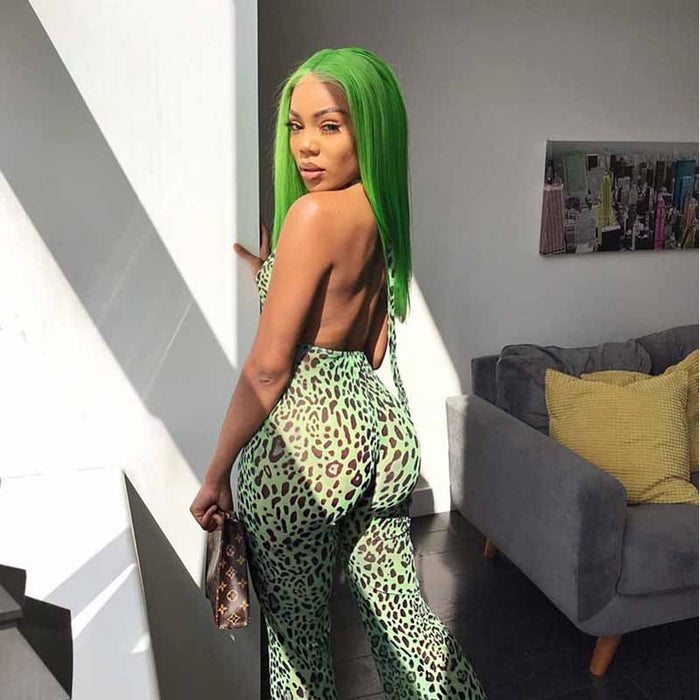 green color lace frontal wig human hair