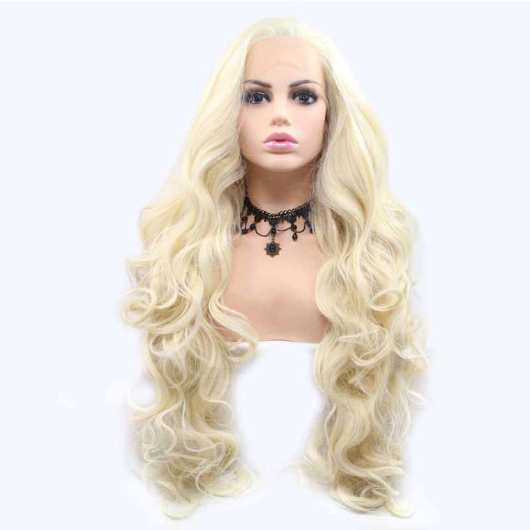 Surprisehair White Synthetic Lace Wigs Wavy Quality Wig Cosplay for Halloween