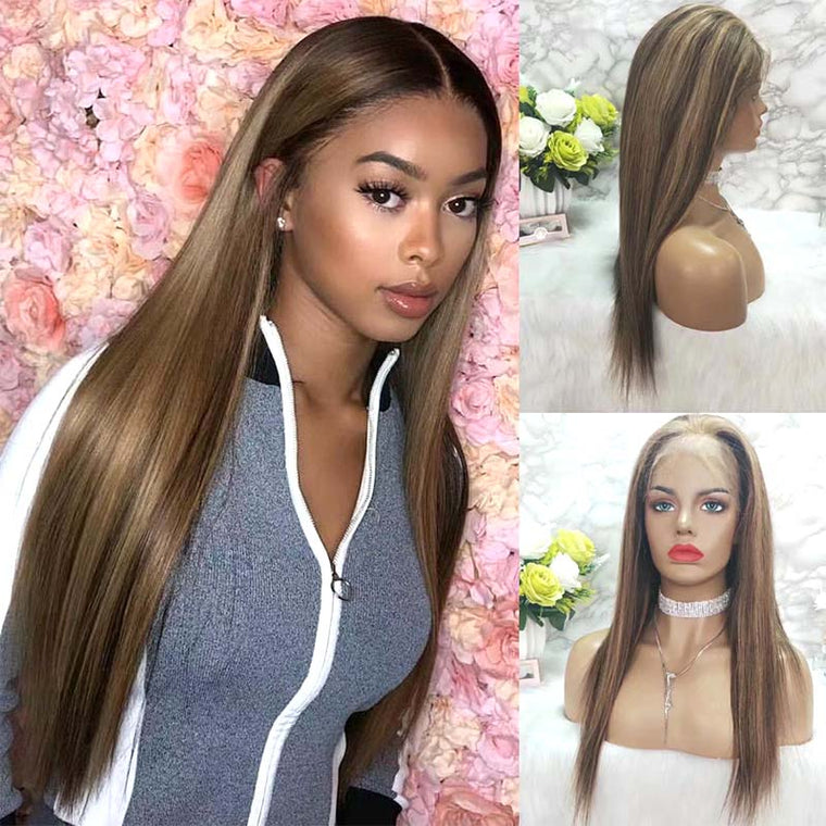 Quality Highlight Mix Color Human Hair Straight Lace Frontal Wig Surprisehair