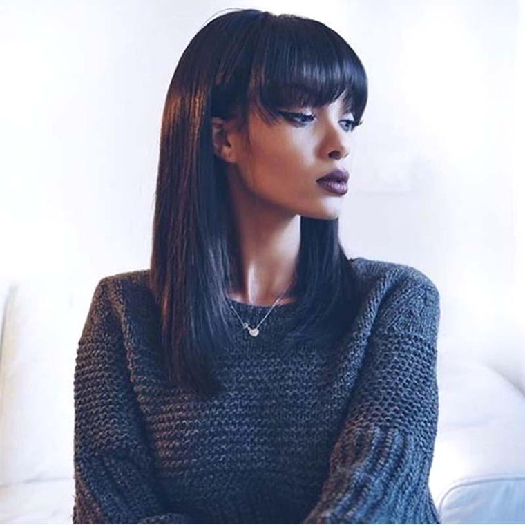 Straight Lace Wigs with Bangs Brazilian Human Hair Surprisehair
