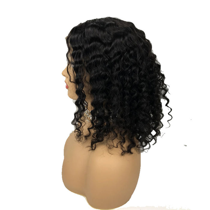 Surprisehair Middle Part Deep Wave Curly Bob wigs Lace Front Human Hair