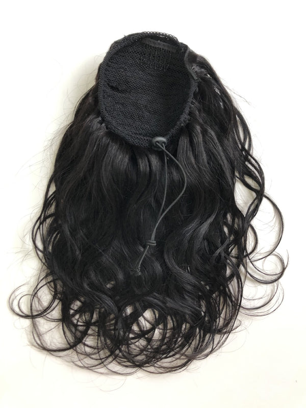 human hair ponytail natural wave