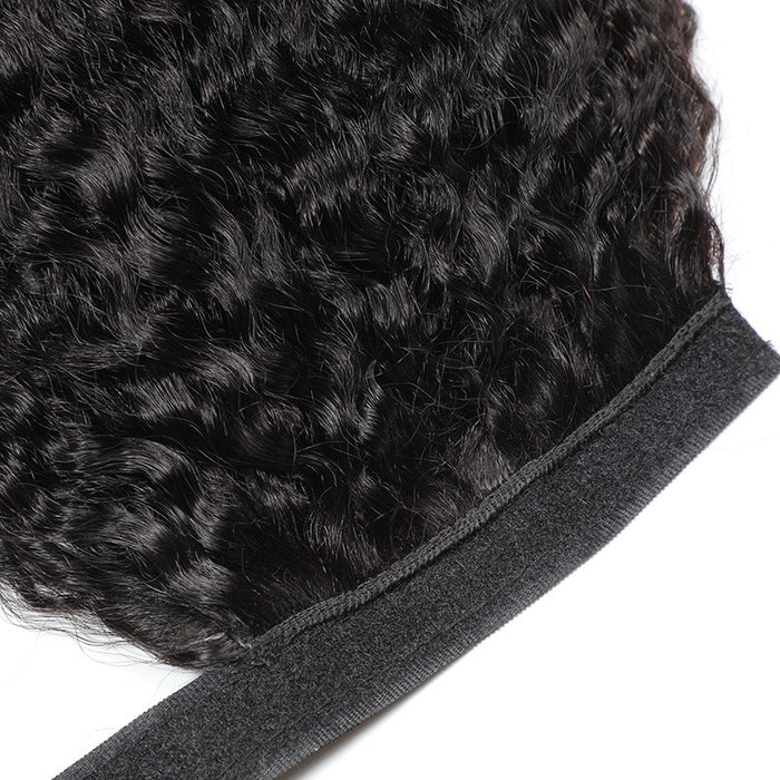 kinky straight human hair ponytail