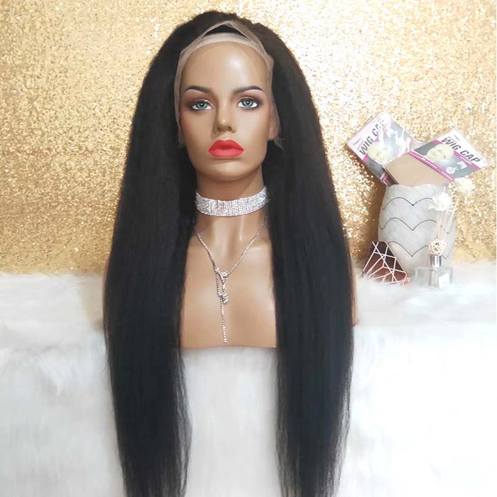 Straight Yaki Wig Lace Front Brazilian Human Hair Surprisehair