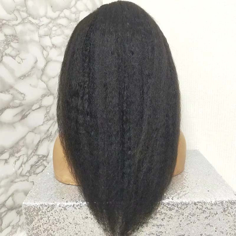 Kinky Straight Human Hair Wig Lace Front High Density  Surprisehair