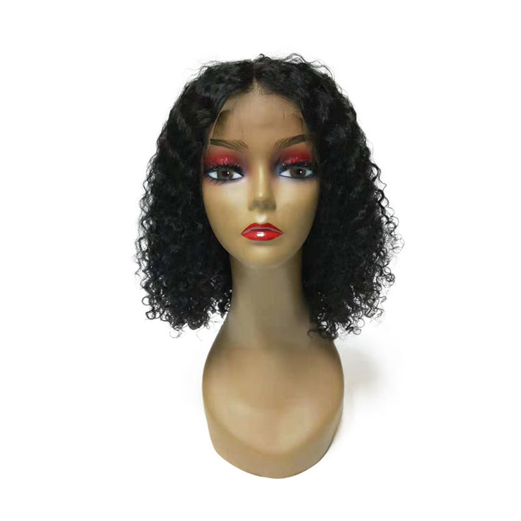 9A Middle Part Curly Lace Bob Wig Lace Front Human Hair 180% Density African American Wig