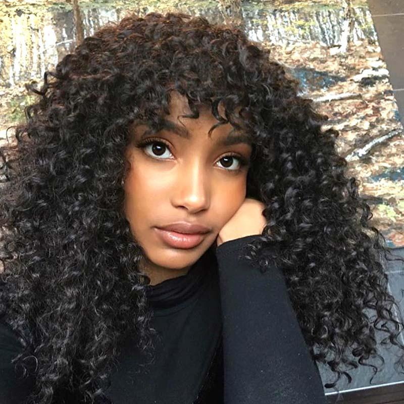 Short Curly Wig With Bangs Human Hair Lace Front Wig Surprisehair