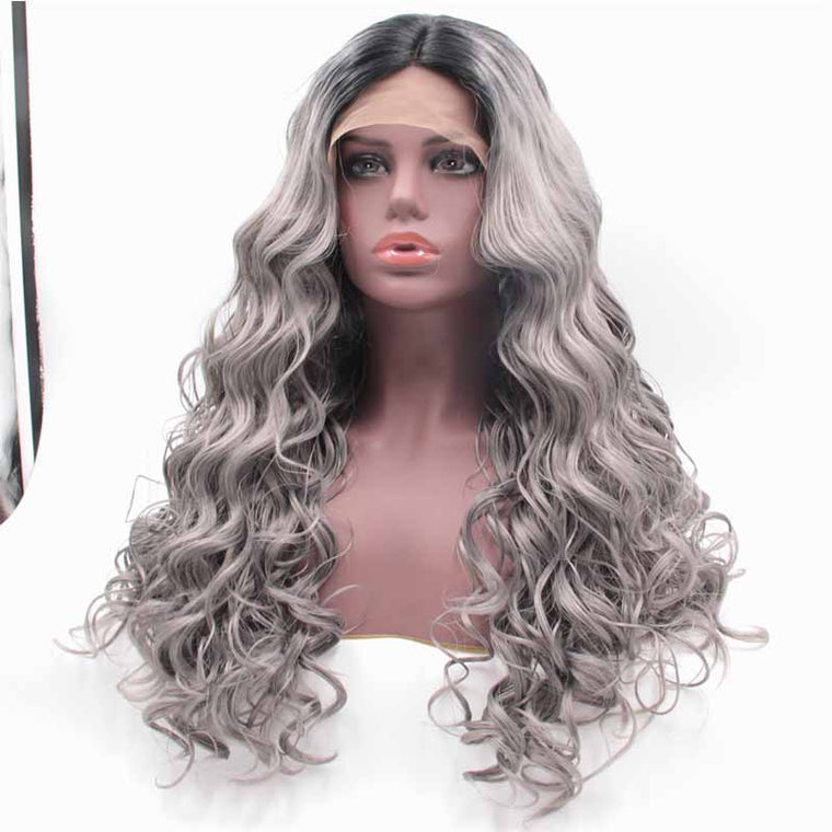 Surprisehair Synthetic Lace Front Wig Grey Ombre Long Inch Wavy for Black Women