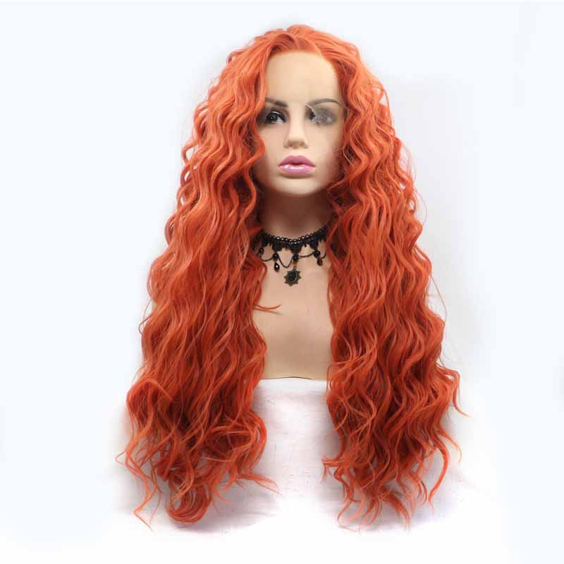 orange Synthetic Lace Front Wig