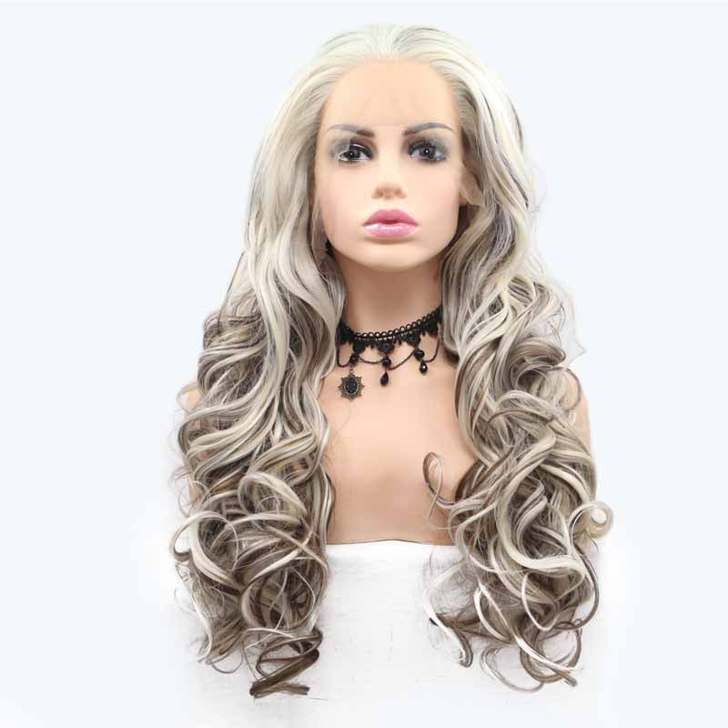 grey multi synthetic lace wig