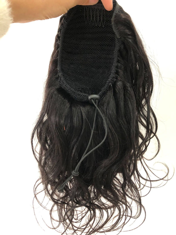 long natural wave human hair puff