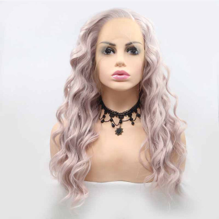 Surprisehair Light PInk Synthetic Lace Wig Loose Wave 24inch