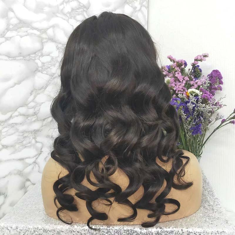 loose wave lace front wig with bangs