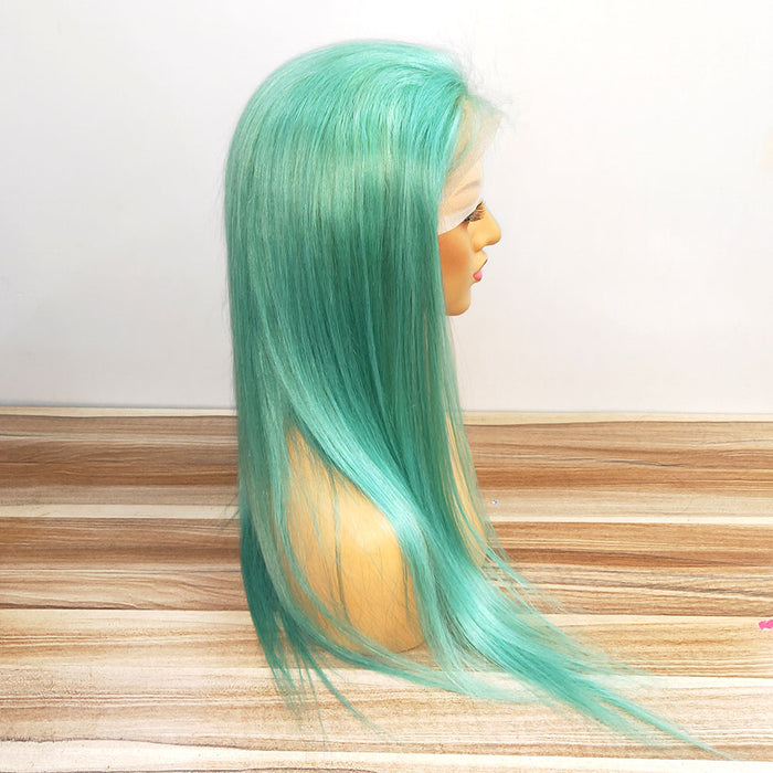 New Mint Green Color human hair wig