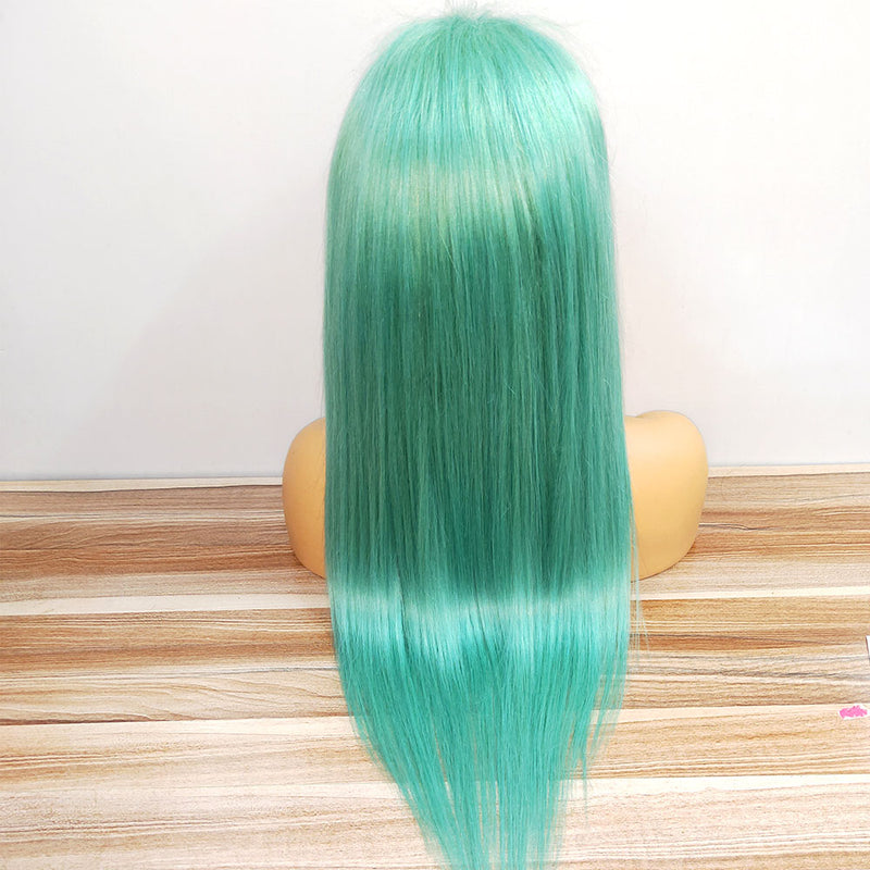 Mint Green Color straight lace frontal wig