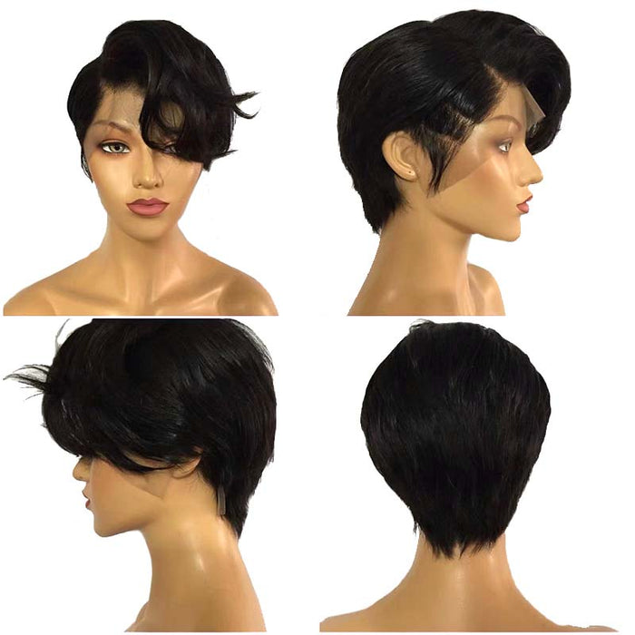 natural wave pixie cut human hair wig for black women