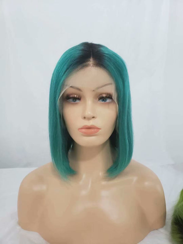 ombre green lace front wig human hair