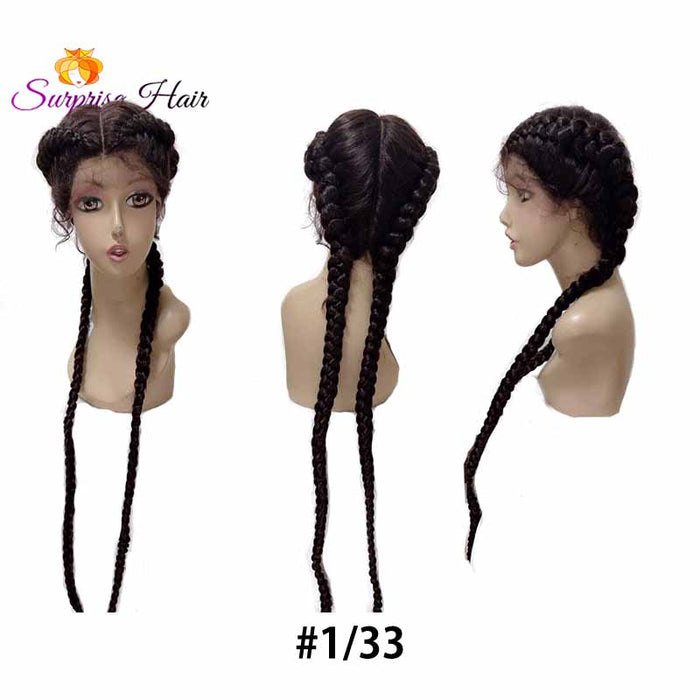 ombre brown two cornrow braids wig